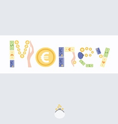 Postcard with picture of money vector image vector image