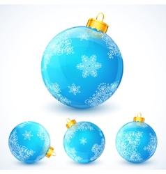 Set of blue Christmas balls vector image vector image