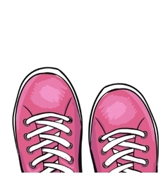 Summer trendy sports shoes Pink sneakers vector image vector image