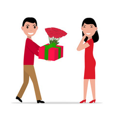 cartoon man gives gift and flowers to woman vector image