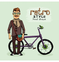 hipster with bike vector image vector image