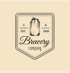Kraft beer can logo old brewery icon lager retro vector