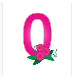 Number zero with floral vector image vector image