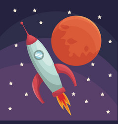 realistic color poster universe with rocket and vector image