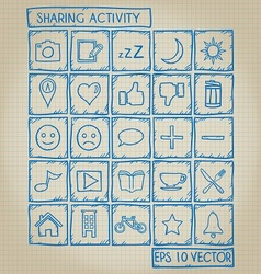 Sharing Activity Icon Doodle Set vector image