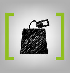 shopping bag sign with tag black scribble vector image vector image