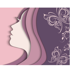 woman s profile cut from paper vector image vector image
