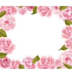 Frame from pink roses vector image vector image
