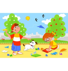kids playing with airplanes vector image vector image