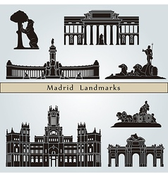 Madrid landmarks and monuments vector image vector image