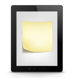Tablet PC with paper note vector image