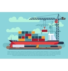 Transport cargo sea ship loading containers by vector image