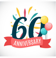 anniversary 60 years template with ribbon vector image