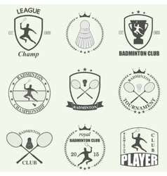 Badminton labels and icons set vector image vector image