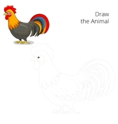 Draw the animal rooster educational game vector image
