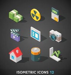Flat Isometric Icons Set 12 vector image vector image
