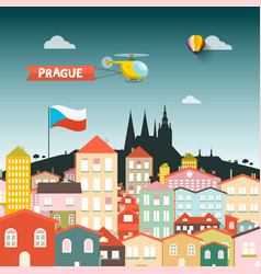 prague castle with buildings flat design vector image