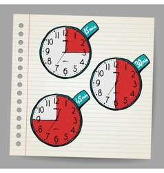 Red doodle timers vector image vector image