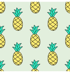 Seamless hand-drawn pattern with pineapple vector image