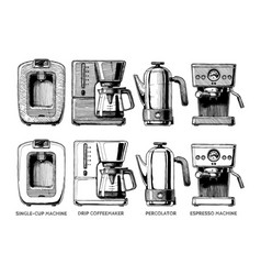 set of coffee machines vector image