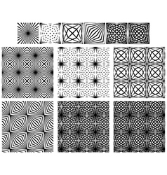 Set Seamless Black And White Lines Patterns vector image vector image