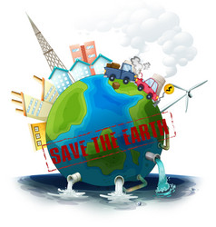 a polluted earth icon vector image