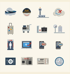 Airport icons set flat icons set for website vector