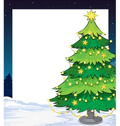 An empty christmas template with a christmas tree vector