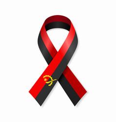 Angolan flag stripe ribbon on white background vector