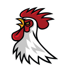Angry rooster head mascot logo design vector