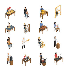 Artisan people isometric set vector