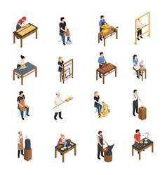 artisan people isometric set vector image