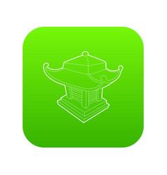 asian pagoda icon green vector image