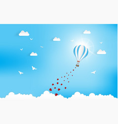 balloon flying over cloud with heart float on the vector image