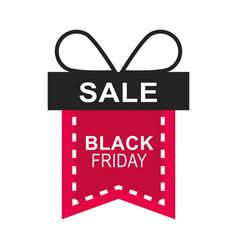 black friday sale gift shaped ribbon sticker vector image