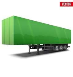 Blank green parked semi trailer vector