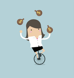 Businesswoman juggling money bag while cycling vector
