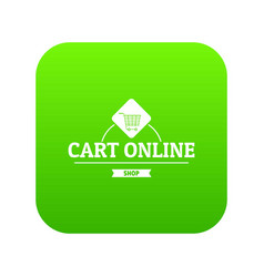 cart online icon green vector image