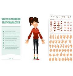 Cartoon flat sport girl character big set vector