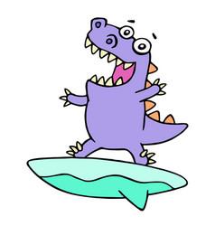 Cartoon purple dinosaur surfer on surfboard vector