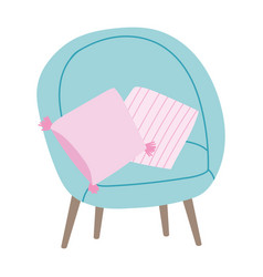 chair and cushions furniture decoration isolated vector image