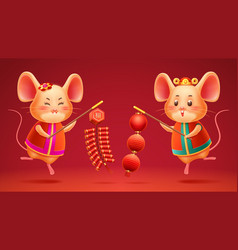 Chinese new year rats lanterns and firecrackers vector