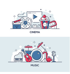 cinema and music - modern line design style vector image