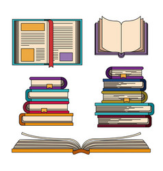 Color set with knowledge stack of books vector