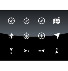 Compass icons on black background vector image