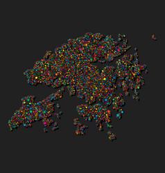 Creative hong kong country map made dots vector
