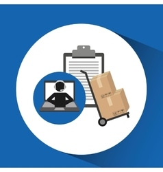 delivery call centre operator online clipboard and vector image