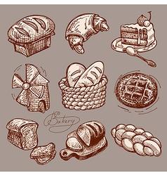 Digital drawing bakery icon set vector