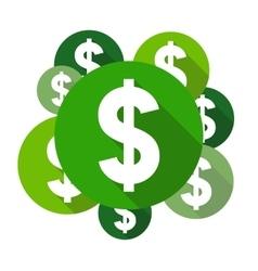 Dollar symbols flat design style circles vector image