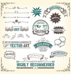 Doodles-banners-ribbons-and-awards vector